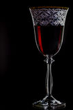 Red wine glass on black background. Close-Up Royalty Free Stock Photos
