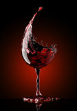Red wine glass on black background Stock Photos