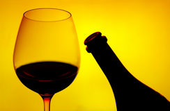 Red wine glass & bottle Royalty Free Stock Images