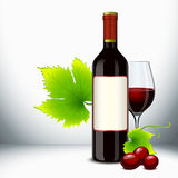 Red wine glass and bottle. Red wine bottle and filled glass with vine stock illustration