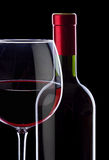 Red wine in the glass and bottle Royalty Free Stock Image