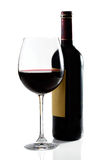 Red wine glass and bottle. On white background stock photos