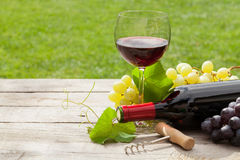 Red wine glass and bottle with bunch of grapes Stock Photos