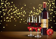 Red wine glass with wine bottle and christmas ball on light bokeh background. Illustration of Red wine glass with wine bottle and christmas ball on light bokeh Royalty Free Stock Photography