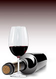 Red wine in a glass and bottle Stock Images
