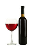 Red wine glass with bottle isolated on a white Royalty Free Stock Photography