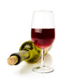Red wine in glass and bottle Royalty Free Stock Images