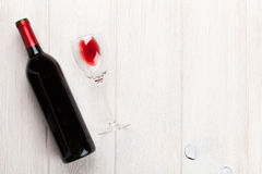 Red wine glass and bottle stock photography