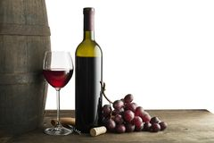 Red wine bottle and glass isolated on white royalty free stock photo