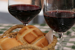 Red wine glass with bread. Royalty Free Stock Photos