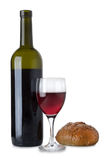 Red wine in glass and bread Royalty Free Stock Image