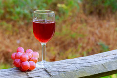 Red wine glass and bunch of grapes on wooden table Stock Photography