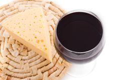 Red wine glass with cheese Stock Photos