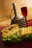 Red wine glass and cheese Stock Image