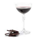 Red wine glass and chocolate. Red wine glass and dark chocolate isolated on white background Stock Photography