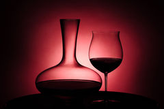 Red wine in glass and Decanter Royalty Free Stock Image