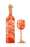 Red wine glass goblet and bottle. Made up of the execution of watercolor roses Royalty Free Stock Photography