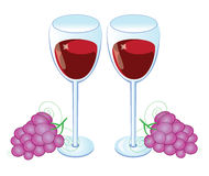 Red wine glass with Grapes Royalty Free Stock Images