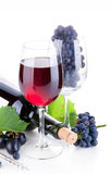 Red wine in glass with grapes Royalty Free Stock Image
