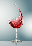 Red wine glass on gray background. 3d rendering Stock Image