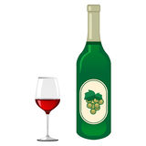 Red wine glass and green grape wine bottle Stock Images
