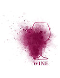 Red wine glass icon with grape Royalty Free Stock Photos
