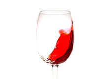 Red wine in glass isolated, splashing, splash, wave of red wine close up isolated Royalty Free Stock Photography