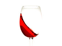 Red wine in glass isolated, splashing, splash, wave of red wine close up isolated Stock Photo