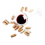Red wine glass isolated on white background. Cork Royalty Free Stock Photography