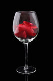 Red wine glass with petals Stock Photography