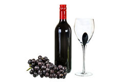 Red wine with glass and red grapes on white background Royalty Free Stock Image