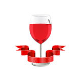 Red wine in glass with ribbon  on white background Stock Photography