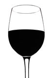 Red wine glass silhouette , over white Royalty Free Stock Image