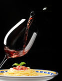Red wine glass with spaghetti Royalty Free Stock Photos