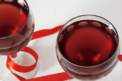 Red wine in the glass. for two Royalty Free Stock Photo