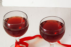 Red wine in the glass. for two Royalty Free Stock Photos
