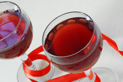Red wine in the glass. for two Stock Image