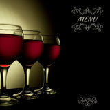REd Wine in glass vintage menu collage Stock Image