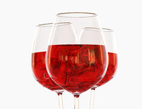 Red wine in a glass. On white background Stock Photos