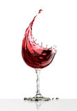 Red wine glass on a white background Royalty Free Stock Images
