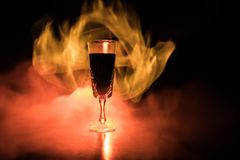 Red wine. Glass of wine. Pouring red wine royalty free stock image