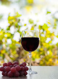 Red wine glass on wood surface with red grapes Royalty Free Stock Images