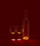 Red wine in glasses. Two glasses with red wine for celebration of holiday Stock Image