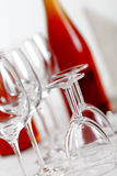 Red wine and glasses Stock Photography