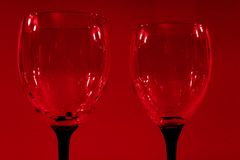 Red wine glasses. View of two wine glasses Stock Images