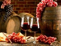 Red wine glasses. Set in cellar Stock Photo