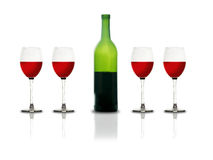 Red Wine glasses and bottle. In white background with reflection Stock Photography