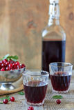 Red wine. Glasses and Bottle on a wooden background Stock Image