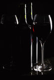 Red wine in glasses and bottles Stock Photo
