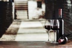 Wine tasting in the cellar. Red wine in glasses in the cellar, wine tasting, French winery stock photo